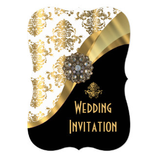 Traditional white black and gold damask wedding 5x7 paper invitation card