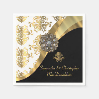 Traditional white, black and gold damask wedding paper napkin