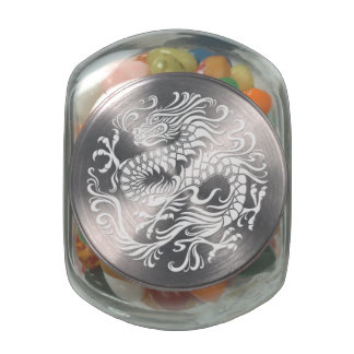 Traditional White Chinese Dragon Circle Glass Jars
