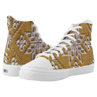 Traditional white cutwork embroidery, beige linen High-Top sneakers