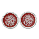 Traditional White on Red Chinese Dragon Circle Cufflinks
