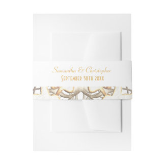 Traditional white paper cut lace damask wedding invitation belly band