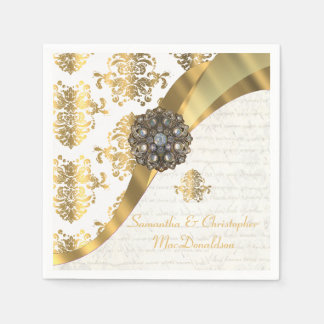Traditional white parchment gold damask wedding paper napkin