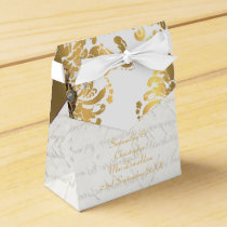 Traditional white parchmentand gold damask wedding favor box