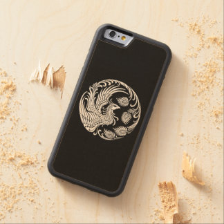 Traditional White Phoenix Circle on Black Carved Maple iPhone 6 Bumper Case