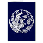 Traditional White Phoenix Circle on Blue Cards