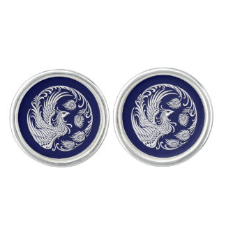 Traditional White Phoenix Circle on Blue Cufflinks
