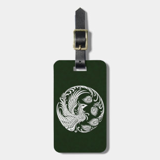 Traditional White Phoenix Circle on Green Tag For Bags