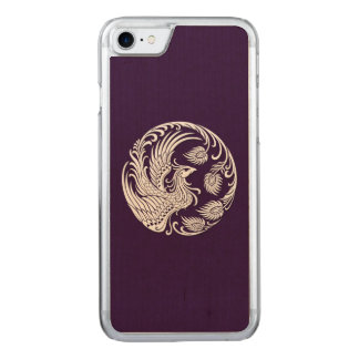 Traditional White Phoenix Circle on Purple Carved iPhone 8/7 Case