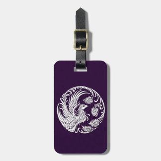 Traditional White Phoenix Circle on Purple Bag Tag