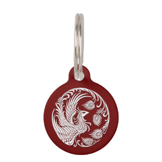 Traditional White Phoenix Circle on Red Pet ID Tag