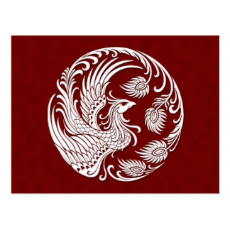 Traditional White Phoenix Circle on Red Postcard
