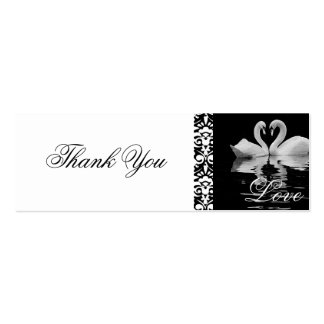 Traditional White Swans Thank You Card Double-Sided Mini Business Cards (Pack Of 20)