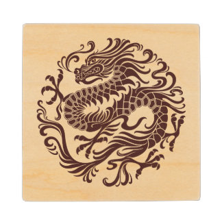 Traditional Wood Chinese Dragon Circle Wood Coaster
