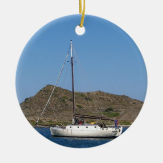 Traditional Wooden Yacht Ceramic Ornament