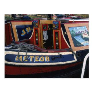 Traditional working boat boatman's cabin postcard