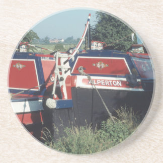 Traditional working canal boats coaster