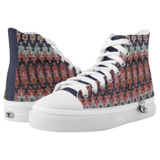 Traditional Woven Cloth Pattern High-Top Sneakers