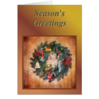 Traditional Wreath Painting Greeting Card