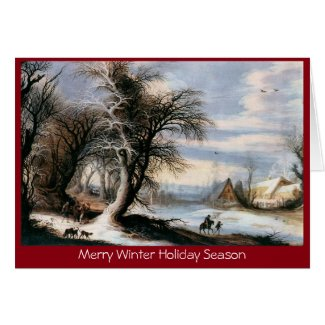 Traditional Xmas winter lanscape New Year greeting