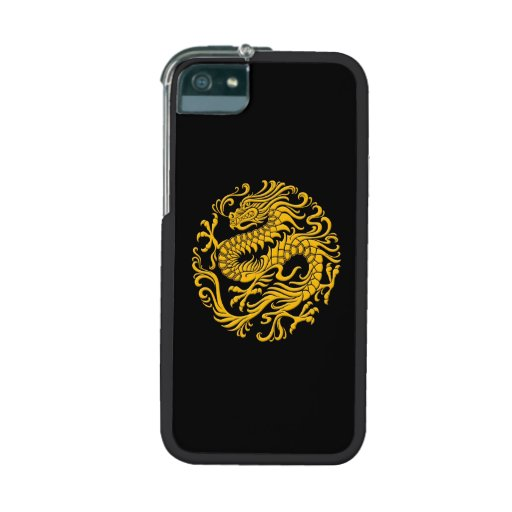 Traditional Yellow and Black Chinese Dragon Circle iPhone 5/5S Case