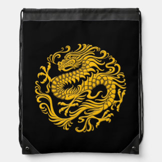 Traditional Yellow and Black Chinese Dragon Circle Drawstring Backpack