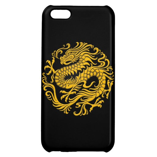 Traditional Yellow and Black Chinese Dragon Circle iPhone 5C Case