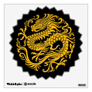 Traditional Yellow and Black Chinese Dragon Circle Wall Decal