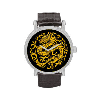Traditional Yellow and Black Chinese Dragon Circle Watch