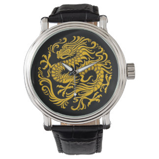 Traditional Yellow and Black Chinese Dragon Circle Wristwatch