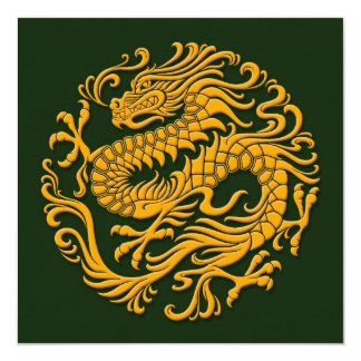Traditional Yellow and Green Chinese Dragon Circle Card