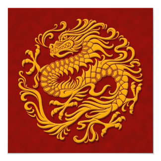 Traditional Yellow and Red Chinese Dragon Circle Card