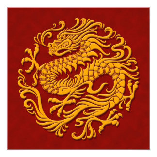 Traditional Yellow and Red Chinese Dragon Circle Announcement