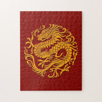Traditional Yellow and Red Chinese Dragon Circle Jigsaw Puzzle