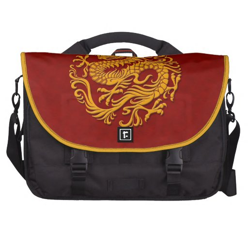 Traditional Yellow and Red Chinese Dragon Circle Commuter Bags
