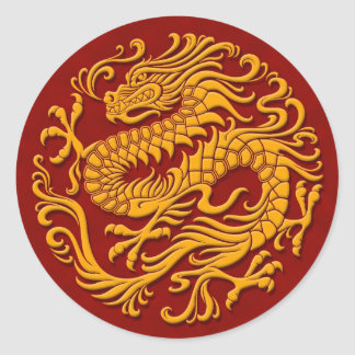 Traditional Yellow and Red Chinese Dragon Circle Round Stickers