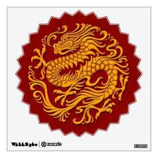 Traditional Yellow and Red Chinese Dragon Circle Wall Decal