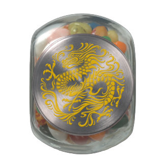 Traditional Yellow Chinese Dragon Circle Glass Jars