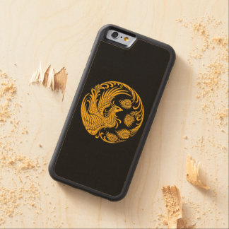 Traditional Yellow Phoenix Circle on Black Carved Maple iPhone 6 Bumper Case