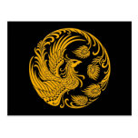 Traditional Yellow Phoenix Circle on Black Postcard