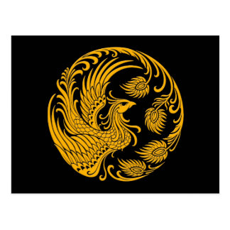 Traditional Yellow Phoenix Circle on Black Postcard