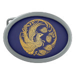 Traditional Yellow Phoenix Circle on Blue Belt Buckle