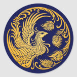 Traditional Yellow Phoenix Circle on Blue Classic Round Sticker