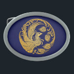 "Traditional Yellow Phoenix Circle on Blue Oval Belt Buckle<br><div class=""desc"">This unique design features a traditional Chinese phoenix in a circular pattern. The wings of the fire bird are stretched back and flow up and around following the circular shape. The head of the tribal phoenix sits on the middle of the design with its tail curving around the outside of...</div>"