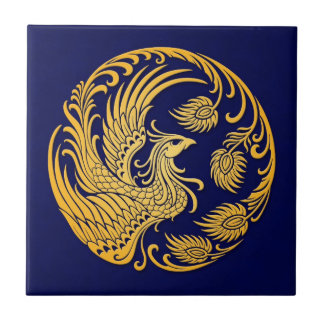 Traditional Yellow Phoenix Circle on Blue Tile