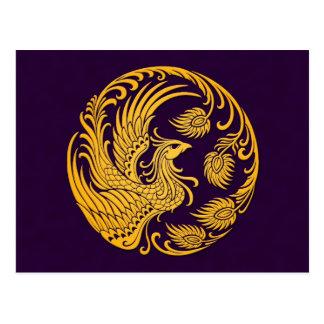 Traditional Yellow Phoenix Circle on Purple Postcard