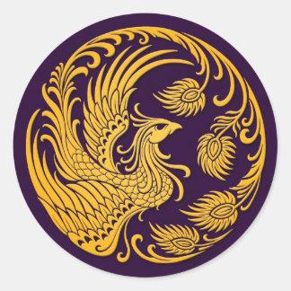 Traditional Yellow Phoenix Circle on Purple Round Sticker