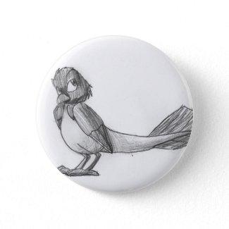 Traditionally-Drawn Reptilian Bird Button