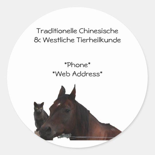 Traditionelle Chinesische & Westliche Tierheilkund Classic Round Sticker