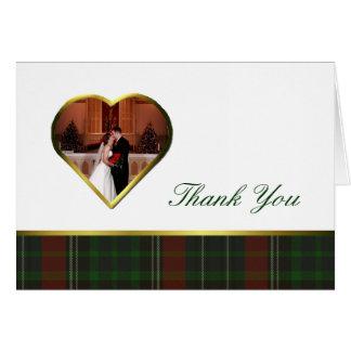 Traditonal Stuart Plaid Heart Photo Thank You Card